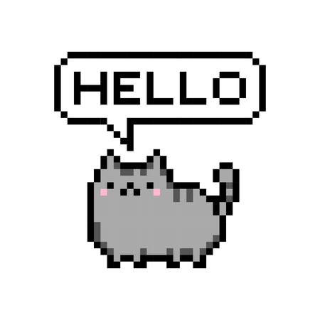 Cute kitten domestic pet pixel saying hello - isolated vector