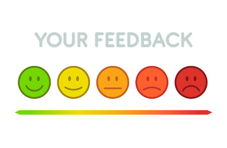 Stel gezichten schaal feedback - geïsoleerde vectorillustratie