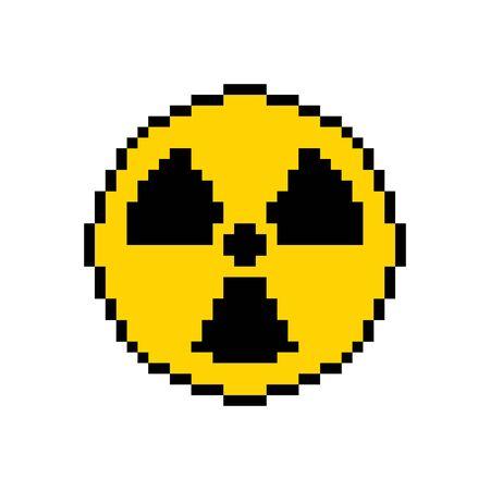 Pixel art hazard orange sign radiation - isolated vector illustration Illusztráció