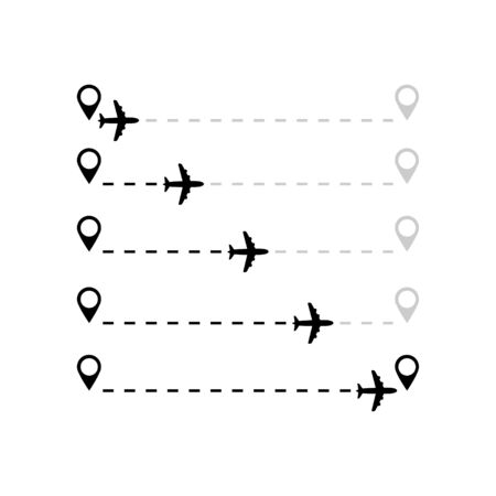 Air plane travel flight route from first to second point set Ilustrace