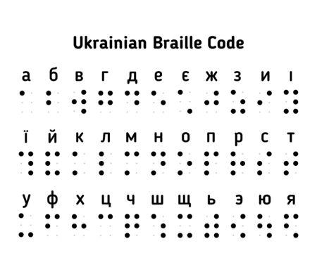 Braille Ukrainian alphabet letters - isolated vector illustration