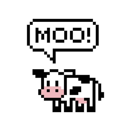 Cute pixel art cow saying moo - isolated vector illustration