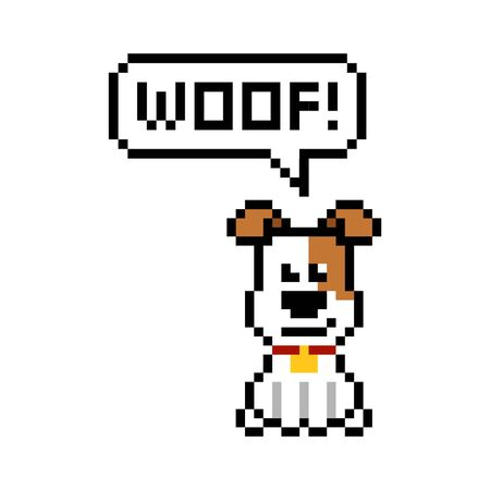 Pixel dog says woof - isolated vector illustration