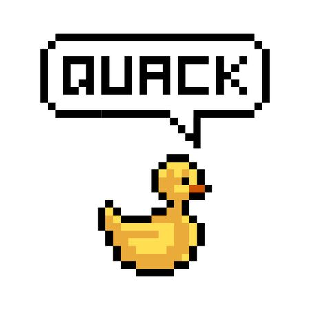 Pixel yellow duck says quack - isolated vector illustration