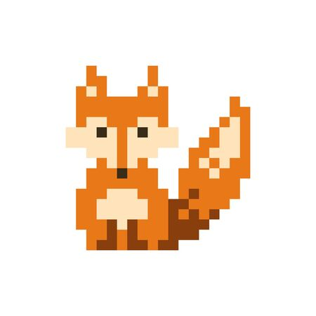 Orange cute pixel sitting fox - isolated vector illustration
