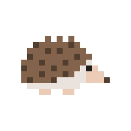 Pixel art style hedgehog - isolated vector illustration