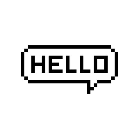 Pixel style text bubble Hello - isolated vector illustration