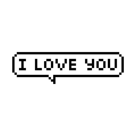 Pixel style text bubble I love you - isolated vector illustration