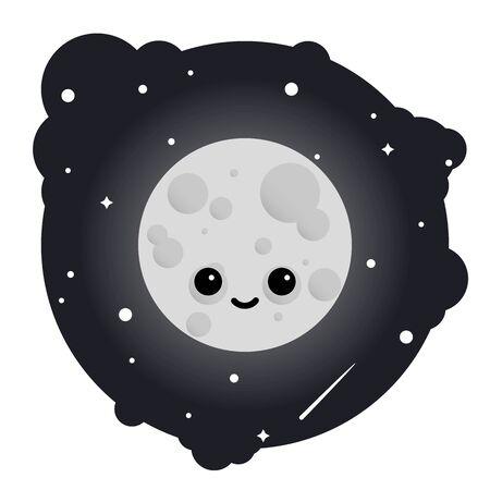 Cartoon cute moon in sky