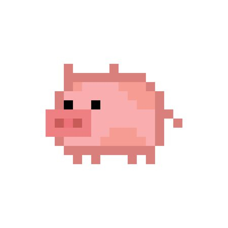 Pixel art style cute pink pig - isolated vector illustration