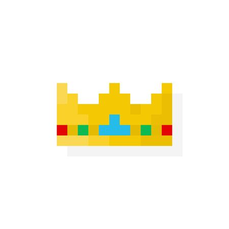 Pixel art gloden crown with jewels - isolated vector illustration