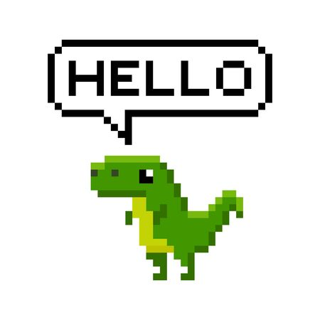 Pixelated cartoon dinosaur