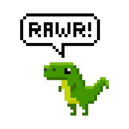 Pixelated cartoon dinosaur saying rawr - isolated vector illustration