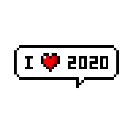 Pixel art speech bubble saying i love 2020 year - isolated vector illustration Çizim