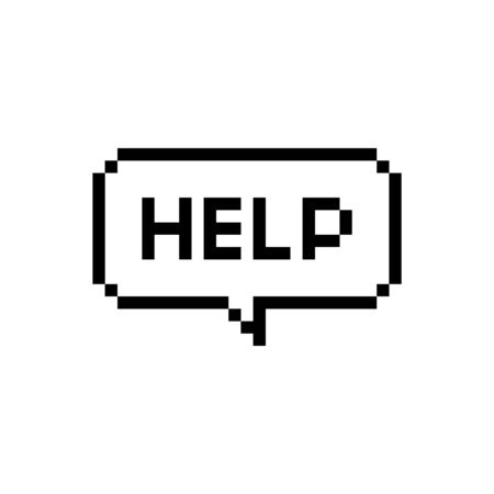 Pixel art speech bubble saying help me on white background - isolated vector illustration