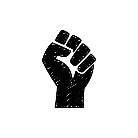 Doodle style raised fist hand on white background. Protest, rebel, fight - isolated vector illustration