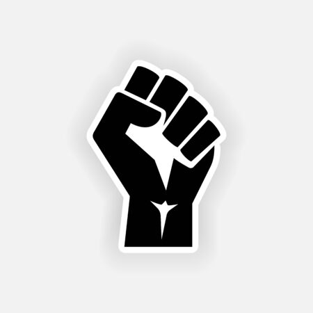 Raised power fist hand on gray background. Protest, rebel, fight - isolated vector illustration