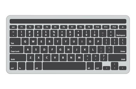 Latin english black keyboard with touch panel on top - isolated vector illustration