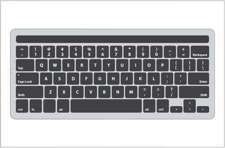 Clavier noir anglais latin avec écran tactile sur le dessus - illustration vectorielle isolée Vecteurs