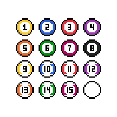 Pixel art 8-bit style multicolor billiard balls set - isolated vector illustration