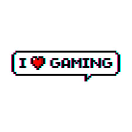 Pixel art 8-bit speech bubble saying i love gaming with heart icon - isolated vector illustration