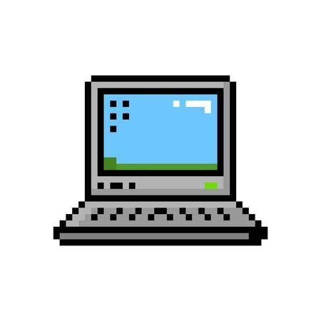 Icono de 8 bits de escritorio de computadora portátil pequeña de estilo pixel - ilustración vectorial aislada