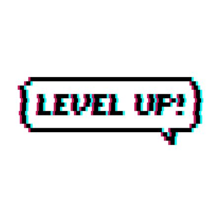 Pixel art 8-bit speech bubble saying level up with glitch effect - isolated vector illustration