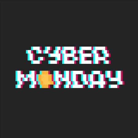 Pixel art poster Cyber Monday with glitch effect and coin icon - isolated vector illustration
