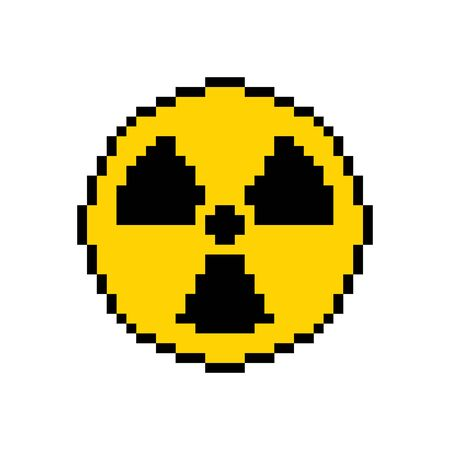 Pixel art hazard orange sign radiation shadows - isolated vector illustration Ilustrace