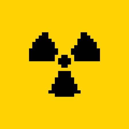 Radiation hazard pixel art 8-bit ionizing radiation hazard symbol icon - isolated vector illustration