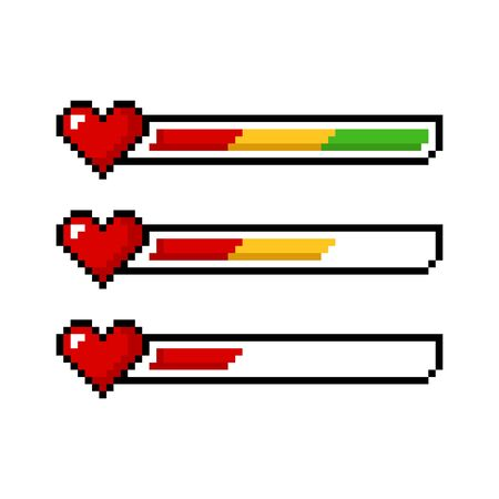 Pixel art 8 bit red yellow green health heart bar set - isolated vector illustration