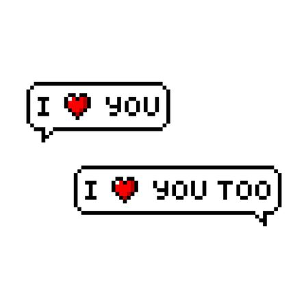 Pixel art 8-bit I love you message - isolated vector illustration Ilustrace