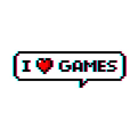 Pixel art 8-bit speech bubble saying i love games with heart icon - isolated vector illustration Ilustrace