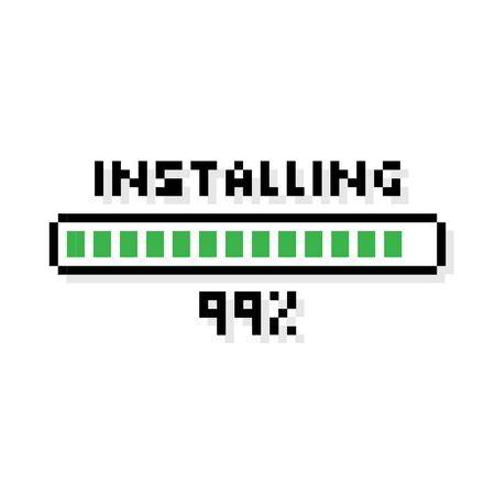 Sztuka pikselowa Instalowanie zielonego paska ładowania ze stanem ładowania 99 procent - ilustracja wektorowa na białym tle