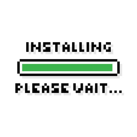 Pixel art Installing green loading bar saying please wait - isolated vector illustration 向量圖像