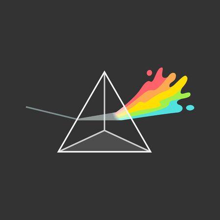 Prisme triangulaire de dispersion de lumière blanche coloré sur fond noir - illustration vectorielle isolé