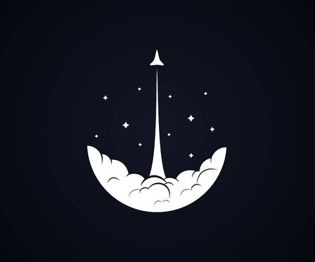 Rocket / shuttle launch in sky with smoke and stars black background - Isolated Vector Illustration