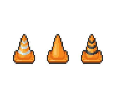Pixel art 8-bit Road safety traffic cones set - isolated vector illustration