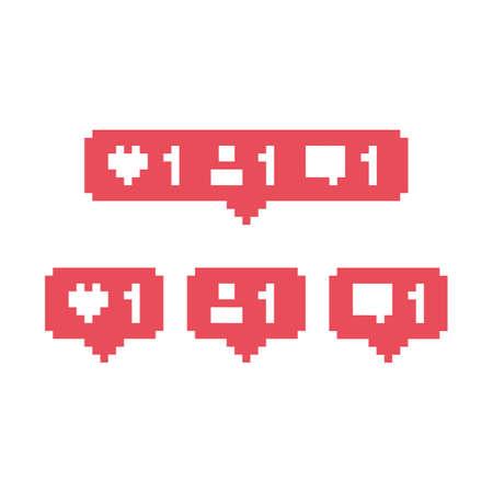 Pixel art 8-bit Social media like comment friend bubble - isolated vector illustration Ilustrace