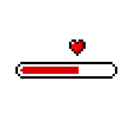 Pixel art 8-bit heart / love loading - isolated vector illustration Ilustrace