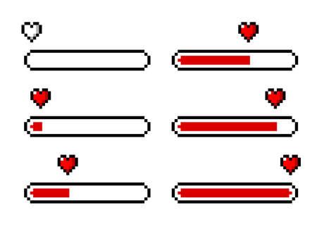 Pixel art 8-bit heart / love loading set - isolated vector illustration Ilustrace