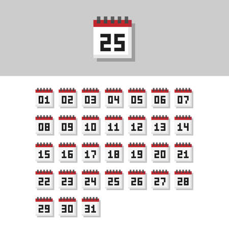 Pixel art 8-bit from 1 to 31 day month calendar icon set - isolated vector illustration
