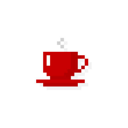 Pixel art 8-bit red cup with drink - isolated vector illustration Ilustração