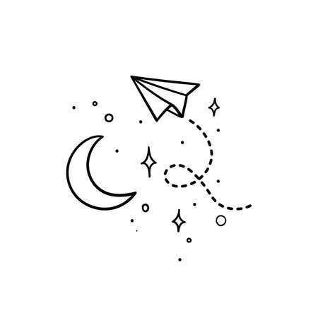 Doodle style paper plane with tracing line flying in space around the moon - isolated vector illustration