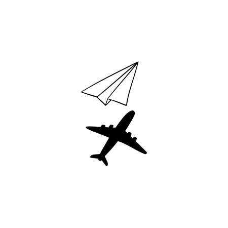 Simple origami paper plane with shadow of a real plane - isolated vector illustration