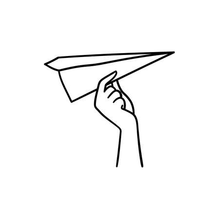 Doodle style hand holding paper plane and trying to launch it - isolated vector illustation on white background