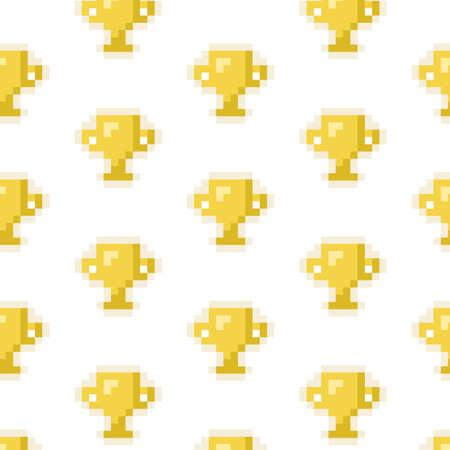 Pixel art 8-bit pattern golden winner cup on white background - isolated vector illustration