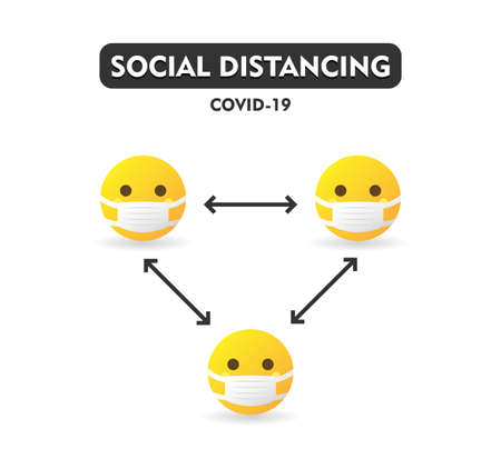 Social distancing COVID-19, keep distance in public society people to protect from coronavirus spreading. Yellow emoticons wearing medicine masks - isolated vector illustration Ilustrace