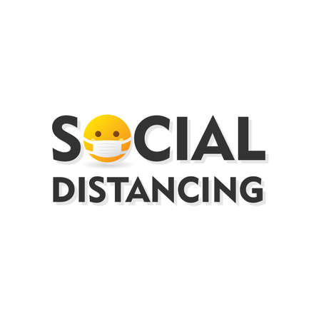 Social Distancing text icon logo with emoticon wearing medical mask - isolated vector illustration Ilustrace
