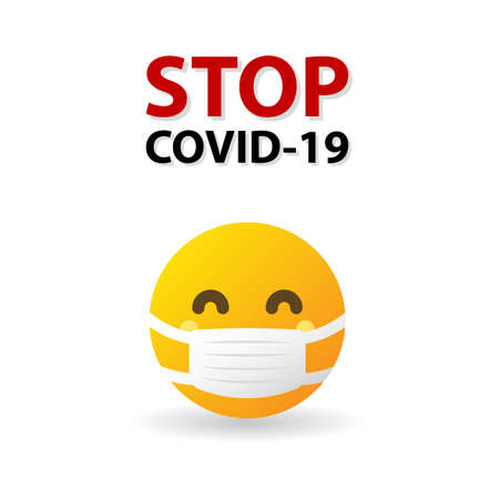 Stop COVID-19 text and Yellow Emoticon wearing medical mask - isolated vector illustration